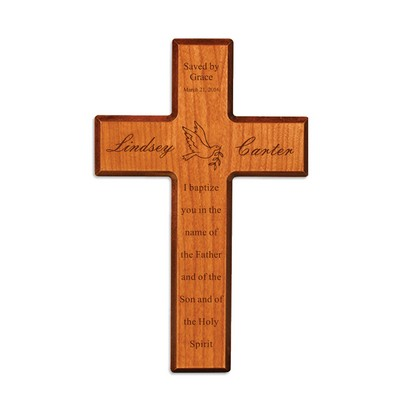 Saved by Grace Personalized Cherry Wood Wall Cross