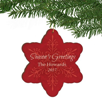 Seasons Greetings Red Snowflake Family Christmas Ornament