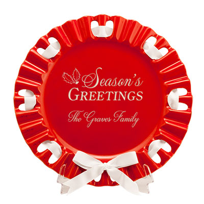 Seasons Greetings Round Red Ribbon Platter
