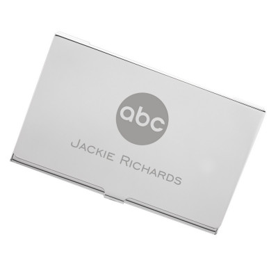 Silver Business Card Case with Logo