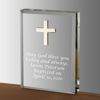 Elegant Silver Cross Acrylic Keepsake