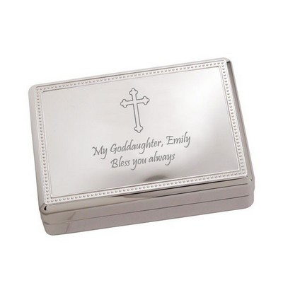 Beautiful Cross Silver Jewelry Box
