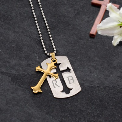 Exclusive Personalized Silver Dog Tag with Gold Cross Cut Out Pendant