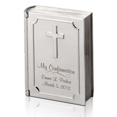 Silver Personalized Confirmation Bible Keepsake Box