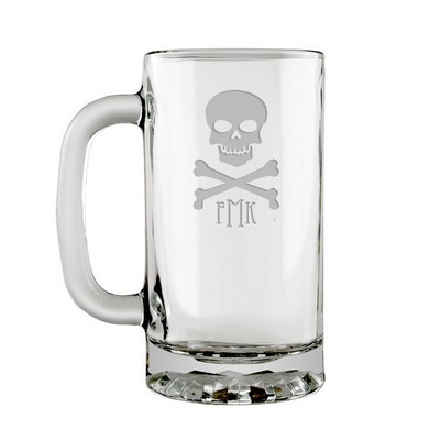 Monogrammed Skull and Cross Bones Glass Beer Mug