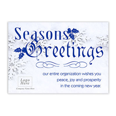 Snowflake Seasons Greeting Corporate Holiday Card