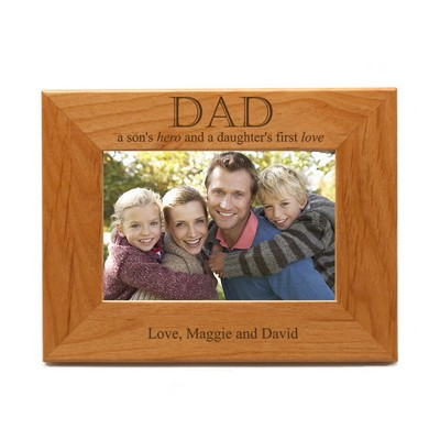 Son's Hero, Daughter's Love for Dad Wooden 4x 6 Photo Frame