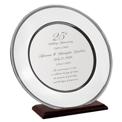 Very Special Personalized 25th Wedding  Anniversary Silver Plate on a Wood Stand