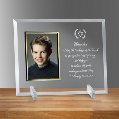"Star of David Glass Vertical 4"" X 6"" Personalized Photo frame"