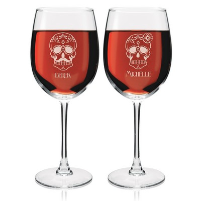 Personalized Sugar Skull Wine Glass Set for Couples
