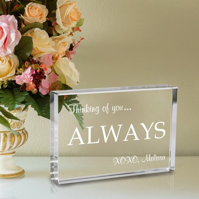 Thinking of You Crystal Keepsake Plaque