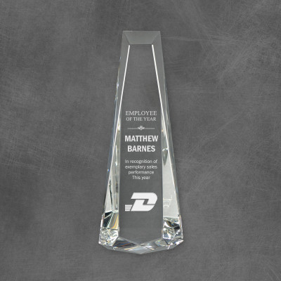 Tribute Obelisk Engraved Crystal Award