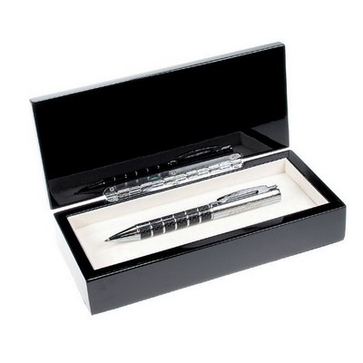 Silver Rings Carbon Fiber Single Pen Set