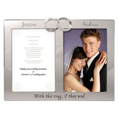 Silver Rings Double Photo Wedding Frame