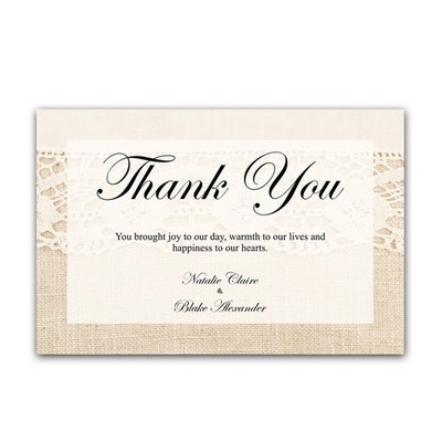 Elegant Lace and Burlap 4x6 Wedding Thank You Cards