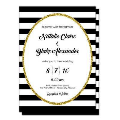 Glam 5x7 Wedding Invitation and RSVP Card