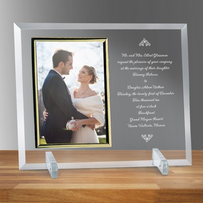 "Wedding Invitation Glass Vertical 8"" X 10"" Photo frame"