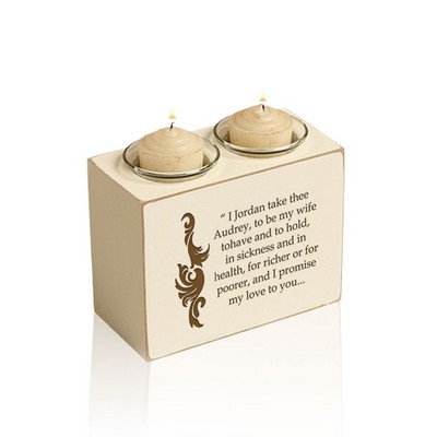Wedding Vows Double Votive Personalized Wood Candle Holder