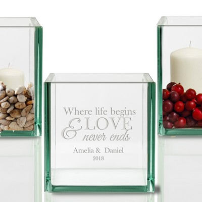 Where Love Begins Personalized Candle Holder for Couples