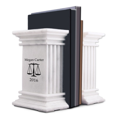 White Marble Personalized Bookends With Scales of Justice for Lawyers