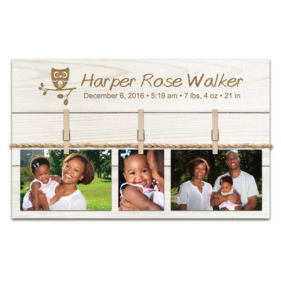 White Pine Wood Personalized Clothespin Photo Pallet
