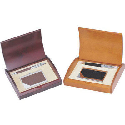 Personalized Executive Black or Brown Leather Business Card Case and Pen Gift Set