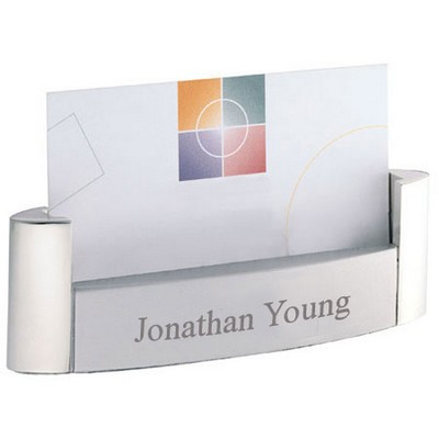 Modern Steel Pearl Desktop Business Card Holder